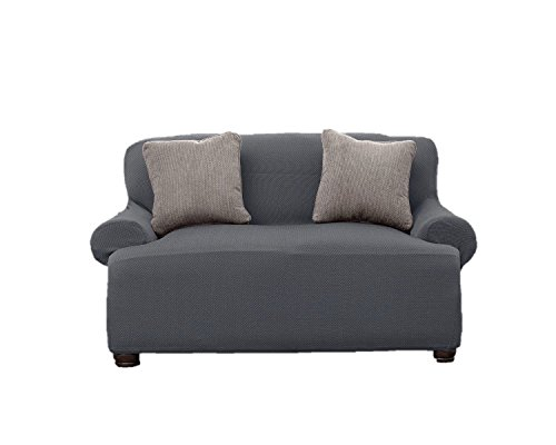 Le' Benton  Stretchable Love Seat Cover - Grey - Collection 3 Seat Sofa