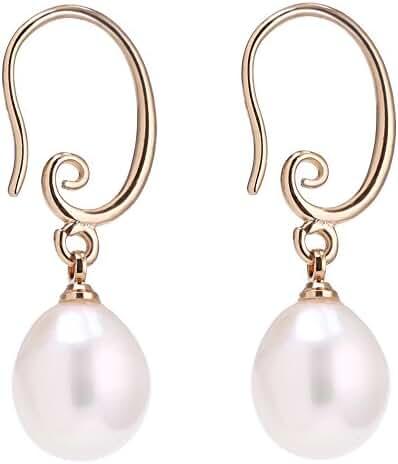 11-12mm Cultured Freshwater Rice Pearl Earrings Yellow Gold Hook Drop Earrings for Women
