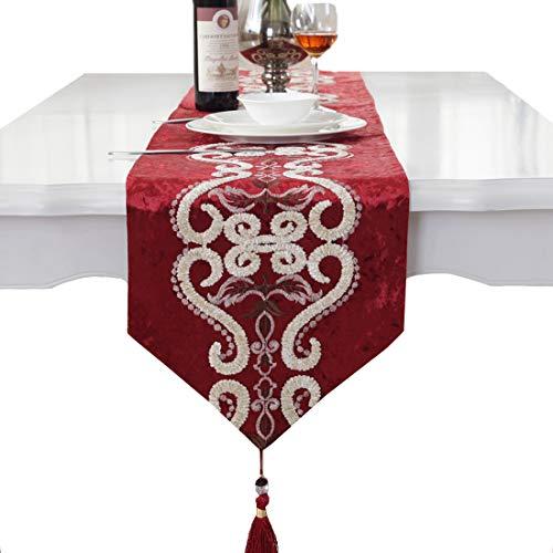 Red pattern flock velvet embroidered tassel home decorative party gift table runner 80 inch -