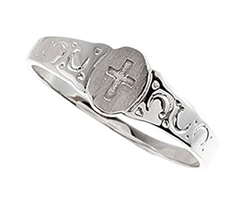 Boy's and Girl's Cross Signet Ring, Rhodium Plate 14k White Gold 5x4mm, Size 3.25 by The Men's Jewelry Store (for KIDS) (Image #4)