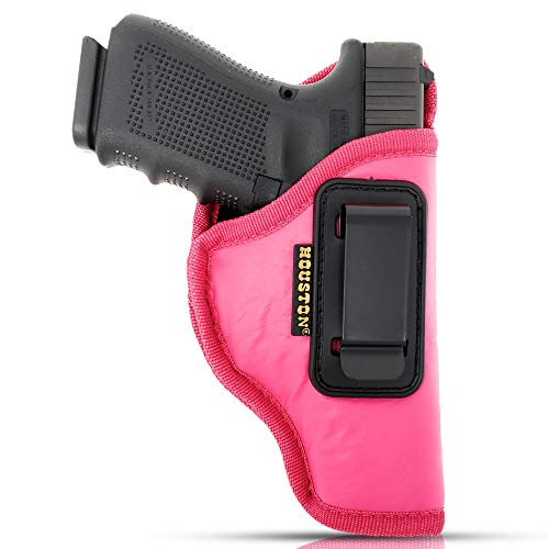 Pink IWB Gun Holster by Houston - ECO Leather Concealed Carry Soft Material | Suede Interior for Protection (Right)