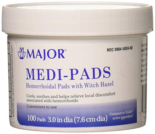 Hemorrhoidal Pads - Medi-Pads Maximum Strength with Witch Hazel Hemorrhoidal Hygienic Cleansing Pads 100 Ct per Jar Compare to Tucks Pads
