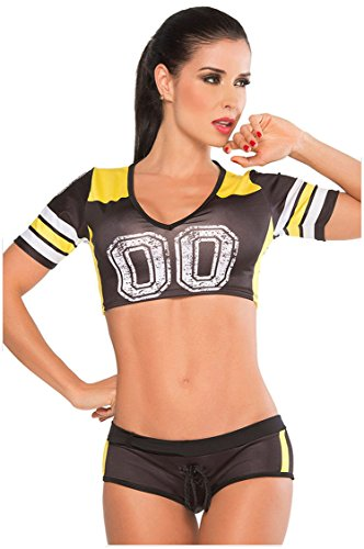 [Prettywell Womens Sexy Football Short Sleeve Shirt Sets Stage Uniform 8891 (Black)] (Funny Uniform Costumes)