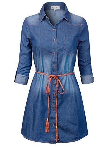 Design by Olivia Women's Vintage Button Down Chambray Long Denim Shirt Tunic Dress Dark Denim S Classic Denim Dress Shirt