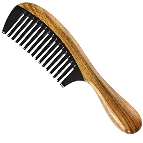 Onedor Buffalo Horn Wide Tooth Natural Wooden Large Combs Handmade Green Sandalwood Hair Combs, Natural Sandal wood scent for Beautiful Hairs. None-Tangled Hair & Anti-Static by Nature.