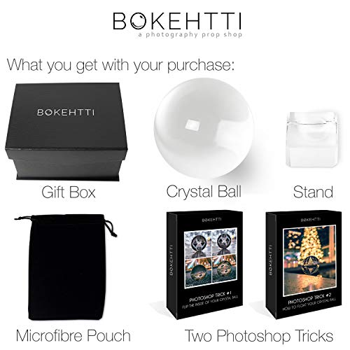 Bokehtti Lensball K9 Crystal Glass Ball (80mm) - Includes Gift Box, Stand, Microfiber Pouch and Bonus Photoshop Tutorials - Photography Prop for Smartphones or DSLR Cameras - Professional Quality ()