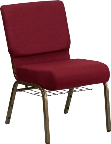 Flash Furniture Embroidered HERCULES Series 21'' Extra Wide Burgundy Church Chair with 4'' Thick Seat, Communion Cup Book Rack - Gold Vein Frame by Flash Furniture