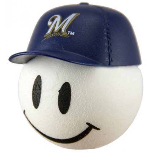HappyBalls Quantity 3 pcs Pack - Collectible - 2 Milwaukee Brewers Baseball Car Antenna Topper/Rear View Mirror Dangler/Mirror Hanger/Auto Accessories + Free Yellow Smiley Antenna Ball