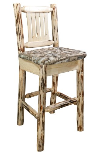 Montana Woodworks Montana Collection Barstool with Back and Wildlife Pattern Upholstered Seat, Ready to Finish