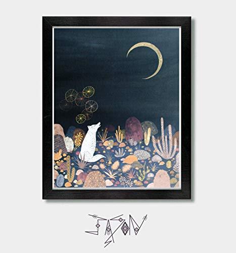 A Message for the Moon - by Artist Jason Smith - Artwork, Wall Art, Wolf, Fox, Coyote, Arizona, Desert, Japanese, Mexican Folk, Southwest Art, Southwestern Decor, Celestial Decor, Texas, Moon Print ()