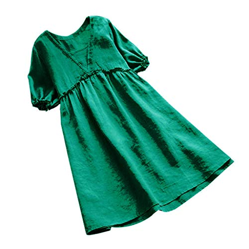 (ZABAYU Women's Short Sleeve Pleated Solid Loose Ruffles Swing Casual Long Top Cotton and Linen Dress)