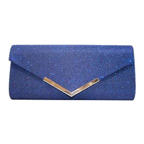 Metal Glitter New Bridal Clutch Trim Bag Shimmer Blue Ladies Prom Purse Za6TWqgwqt
