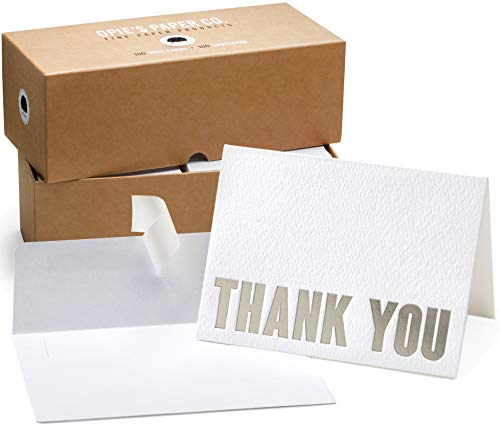 100 Letterpress Thank You Cards and Self Seal Envelopes. Perfect for Graduation, Business, Weddings - Opie's Paper Company (Silver) (Foil Business Stamp Cards)