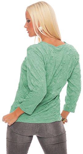 ZARMEXX Mujer Camiseta Básica Acabado Crash Arruga Camisa de algodón Top Blusa Negocios Informal Menta verde