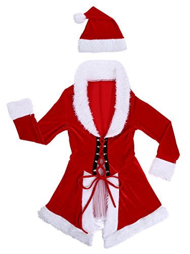 Duraplst Women's Sexy Christmas Dress Costume Santa Outfit with Christmas (Santacon Costume Ideas)