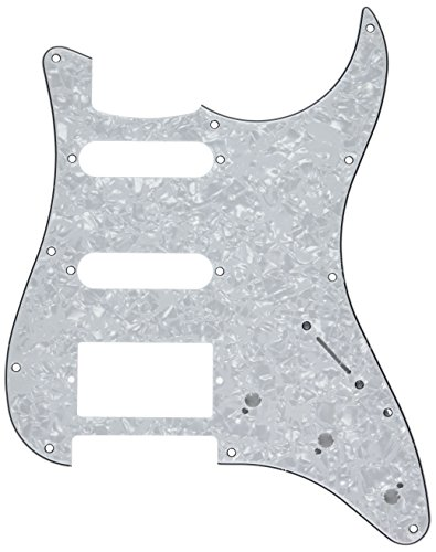 Fat Strat Pickguard - Kmise A0232 1 Piece HSS White Pearl Guitar Pickguard for Fender Strat Replacement