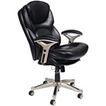 Serta at Home Back in Motion Health and Wellness Mid-Back Office Chair, Eco-Friendly Bonded Leather, Smooth Black, 44186