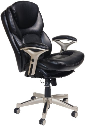 e Office Chair with Back in Motion Technology, Bonded Leather, Black (Executive Side Arm Chair)
