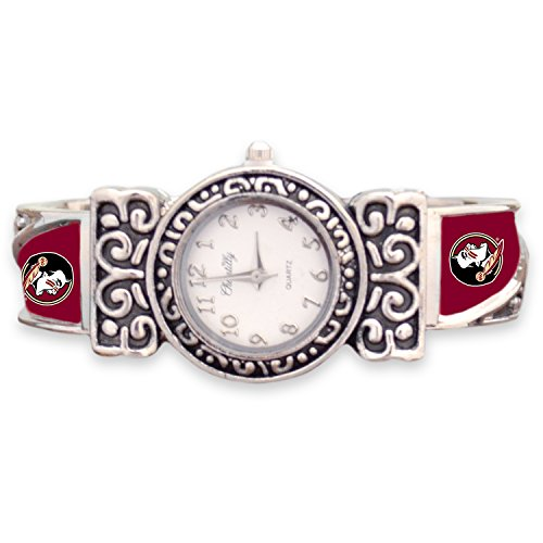 (FTH Florida State Seminoles Cuff Watch with Silver Tone Ornate Accent and Logo on the)