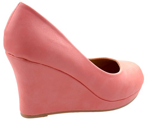Coral Women's 1 Low Soap Heel Slip Top Moda Wedge Classic On Toe Almond Pumps OSqAAH