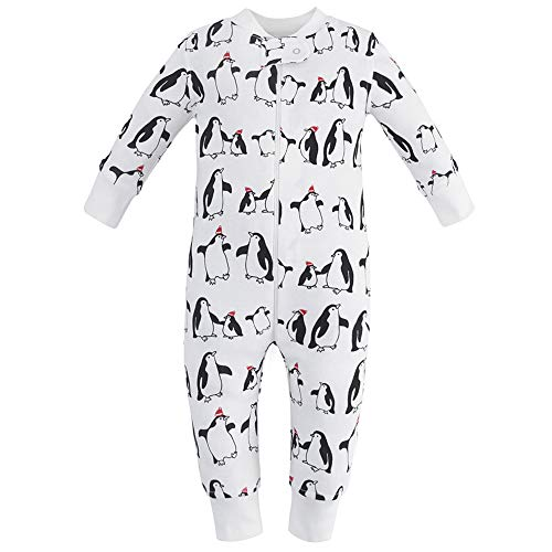 - Owlivia Organic Cotton Baby Boy Girl Zip up Sleep N Play, Footless, Long Sleeve (Size 0-18 Month)(3-6Months,Penguin)