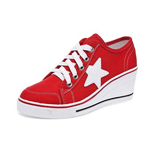 OCHENTA Damen Sneaker Pumps Keilabsatz Canvas High Heels Plattform Schick Bequem Turnschuhe Freizeitschuhe #3 Rot