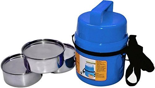 House of Gifts Stainless Steel 3 Containers Lunch Box  Blue