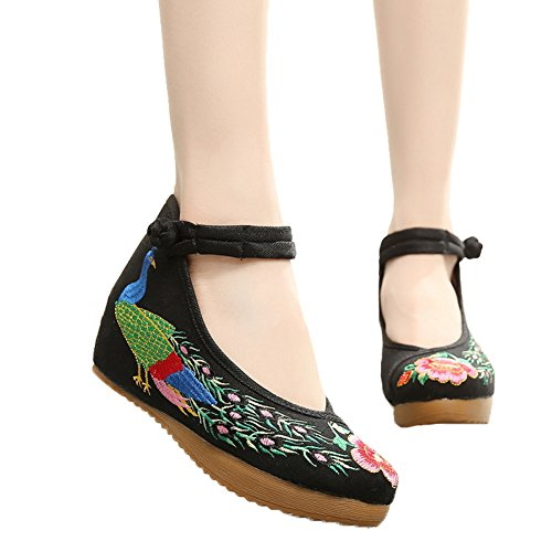 ese Peacock Embroidered Shoes Strappy Platform Wedge for Cheongsam Dress Black 41 (Peacock Embroidered Jean)