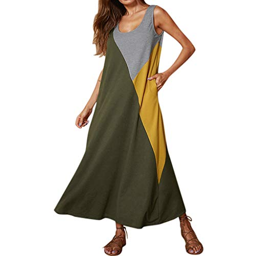 - DondPo Womens Casual Dress T-Shirt Summer O-Neck Sleeveless Patchwork Loose Tank Long A-Line Party Dresses Sundress Green