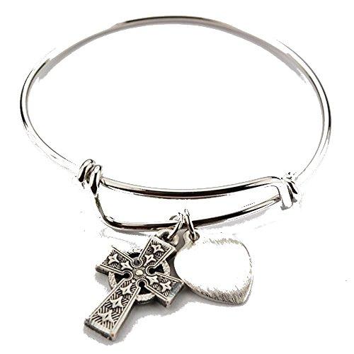 Girls Pewter Celtic Cross Bangle Bracelet, 2 (Pewter Kids Bracelets)