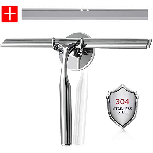 Luxear Bathroom Shower Squeegee All-Purpose Stainless Steel Squeegees with Hooks Holder Chrome -