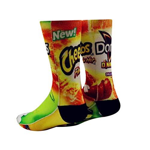 Mens Crazy Funny Cool 3D Print Pattern Novelty Crew Tube Socks