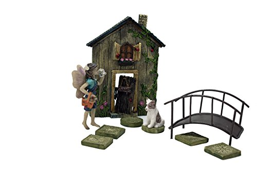 Fairy Gardening Set complete with Fairy Garden Door, Stepping Stones, Fairy, Bridge, Fairy Dog with Fairy Gardening Decoration ideas (White ()