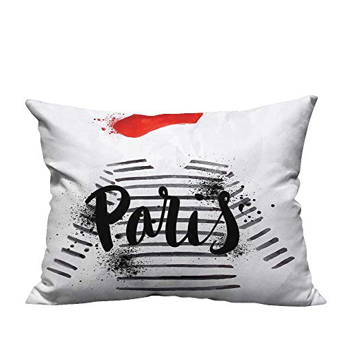 - YouXianHome Decorative Couch Pillow Cases Paris Quote Over Beret and Striped Sweater Grungy Work Black White Easy to Wash(Double-Sided Printing) 26x26 inch