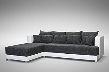 GroBartig Schlafsofa Sofa Couch Ecksofa Eckcouch Schwarz / Weiss Schlaffunktion  Wien  1  L