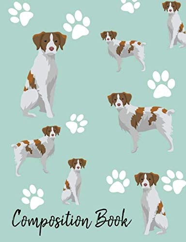 Composition Book: Brittany Spaniel Paw Prints Cute School Notebook 100 Pages Wide Ruled Paper (Dog Breed Composition Books)