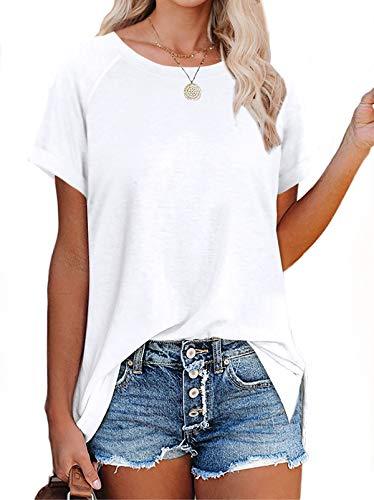 XIEERDUO Womens T Shirts Short Sleeve Crewneck Tees Plain Basic Tops