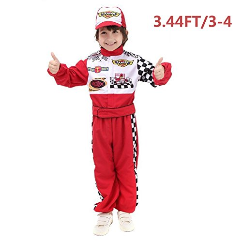 ROMASA Cosplay Children Masquerade Costume Race Car Driver Role Play Dress-Up Set (3.44FT/3-4) ,Red (Racing Driver Costume)