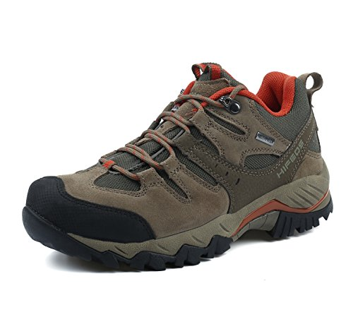 HIFEOS Hiking Boots for Mens Womens Unisex Suede Leather Outdoor Waterproof Backpacking Shoes Khaki 9 D(M) US