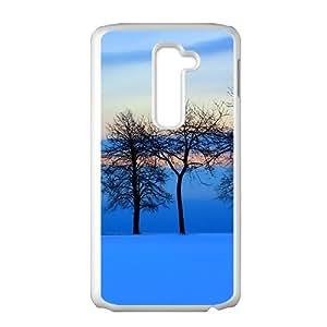 Blue Snow Trees White Phone Case for LG G2