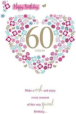Feliz cumpleaños 60 hoy 60TH diseño de corazón brillante ...
