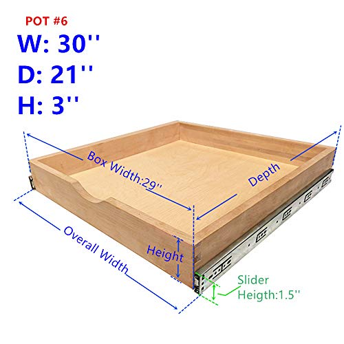 (Elysian Roll Wood Tray Drawer Boxes Kitchen Organizers, Cabinet Slide Out Shelves, Pull-Out Shelf Include 2 Pack Full Extension Side Sliders 2 Rear Mounting Brackets, Pot#6 (30''W x 21''D),)