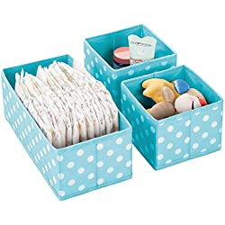 mDesign Soft Fabric Dresser Drawer and Closet Storage Organizer Set for Child/Kids Room, Nursery, Playroom - Organizing Bins in 2 Sizes - Polka Dot Pattern, Set of 3 - Turquoise with White Dots