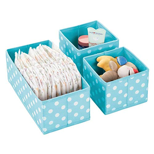 Dresser Drawer and Closet Storage Organizer Set for Child/Kids Room, Nursery, Playroom - Organizing Bins in 2 Sizes - Polka Dot Pattern, Set of 3 - Turquoise with White Dots ()