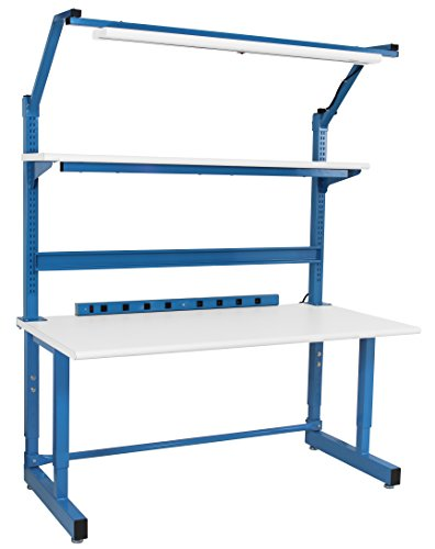 """Complete Workbench with Formica Round Front Edge Top, 30' x 60"""". Height Adjusts 30"""" To 36"""""""