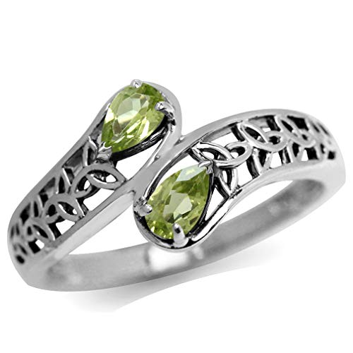 Natural Peridot 925 Sterling Silver Filigree Triquetra Celtic Knot Bypass Ring Size 5.5