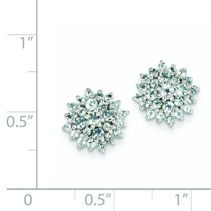 ICE CARATS 925 Sterling Silver Blue Aquamarine Round Post Stud Ball Button Earrings Birthstone March Fine Jewelry Gift Set For Women Heart by ICE CARATS (Image #2)