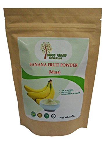 100% Pure Banana Fruit Powder, 8 oz, Eco-friendly pouch, Air tight & Resealable, No Additives or Fillers. by Indus Farms Superfoods