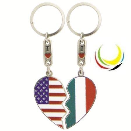flagsandsouvenirs Keychain USA & Italy Heart