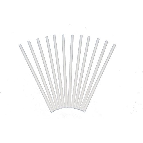 Plastic White Dowel Rods for Tiered Cake Construction, 12 Inch X 1/4, Pack of 50 Plastic Dowel
